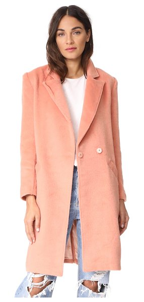 Minkpink fearless coat in pink - A fuzzy, brushed finish accentuates the cozy feel of...