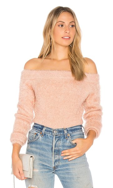 Minkpink Florentine Off Shoulder Sweater in pink - 65% polyamide 35% acrylic. Hand wash cold. Elasticized...