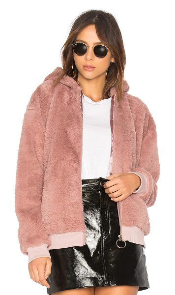 Minkpink Fluffy Faux Fur Hooded Jacket in rose - Self & Lining: 100% poly. Dry clean only. Zipper front...