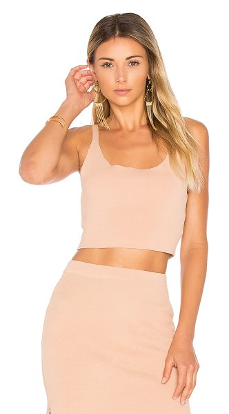 Minkpink Knitted Crop Top in beige - 65% viscose 35% polyamide. Hand wash cold. Stretch knit...