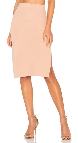 """Minkpink Knitted Pencil Skirt in beige - """"65% viscose 35% polyamide. Hand wash cold. Unlined...."""