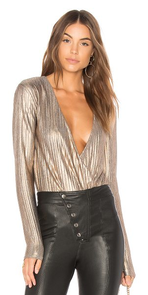 MINKPINK Metallic Crinkle Bodysuit - Poly blend. Hand wash cold. Pleated fabric. Surplice...