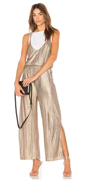 "MINKPINK Metallic Crinkle Jumpsuit - ""100% poly. Hand wash cold. Adjustable shoulder straps...."