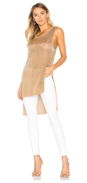 Minkpink Metallic Knit Tunic Tank in metallic gold - Nylon blend. Hand wash cold. Side seam slits. Metallic...