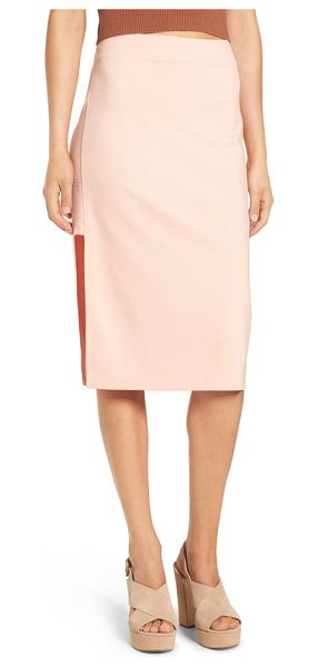Minkpink moon child cutout midi skirt in blush - Geometric side cutouts relax the silhouette of a...