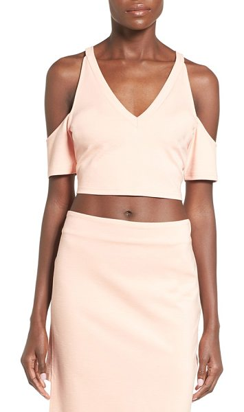 Minkpink moon child cutout sleeve crop top in blush - Geometric shoulder cutouts relax the silhouette of a...