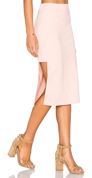 Minkpink Moon Child Skirt in blush - 68% viscose 28% nylon 4% elastane. Unlined. Side hidden...
