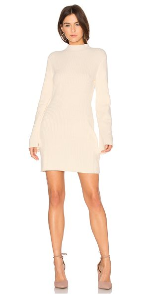 Minkpink Open Arms Jumper Dress in cream - 55% cotton 45% acrylic. Hand wash cold. Unlined. Flared...