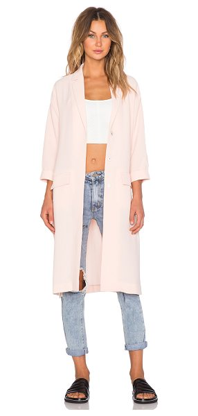 Minkpink Politley pink duster jacket in blush - Poly blend. Dry clean only. Button front closure. Front...