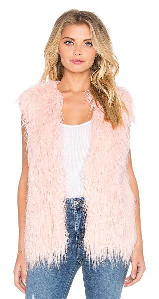 Minkpink Pretty  faux fur vest in pink - 52% acetate 48% viscose. Hand wash cold. Open front....