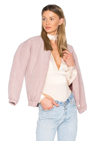 Minkpink Puffer Bomber Jacket in mauve - 100% poly. Zip front closure. Side welt pockets. Banded...