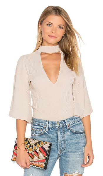 Minkpink Rib Flare Sleeve Reversible Top in taupe