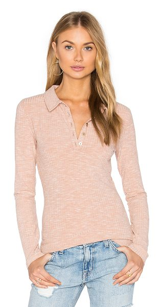 Minkpink Rib Polo Top in beige - Cotton blend. Partial front button placket. Rib knit...