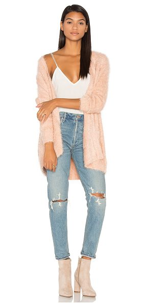 Minkpink Soft Serve Cardigan in blush - 65% polyamide 35% acrylic. Hand wash cold. Open front....