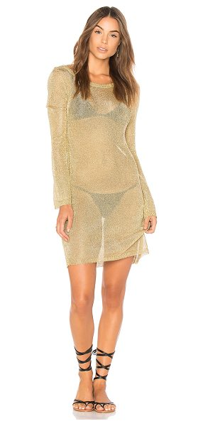 MINKPINK Stay Golden Knit Dress - 65% viscose 35% poly. Hand wash cold. Unlined. Sheer...