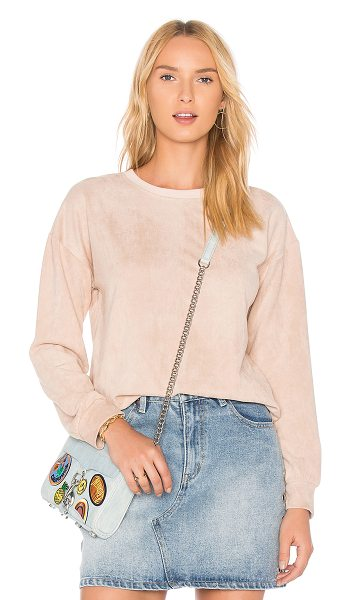Minkpink Suede Sweater in pink - Self: 92% poly 8% elastaneContrast: 95% poly 5%...