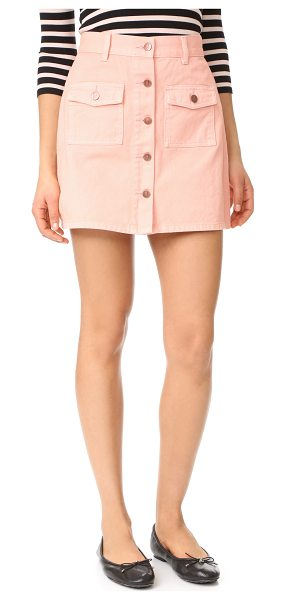 Minkpink sugar rusy safari denim skirt in nude pink - A denim MINKPINK skirt in a stylish, pastel wash. Button...