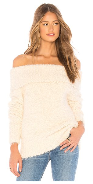 Minkpink Teacup Off Shoulder Sweater in cream - 50% polyamide 50% poly. Hand wash cold. Fuzzy knit...