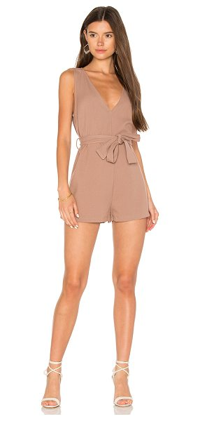 "Minkpink Textured Twill Mini Boiler Romper in taupe - ""70% poly 25% viscose 5% elastane. Waist tie. Body..."