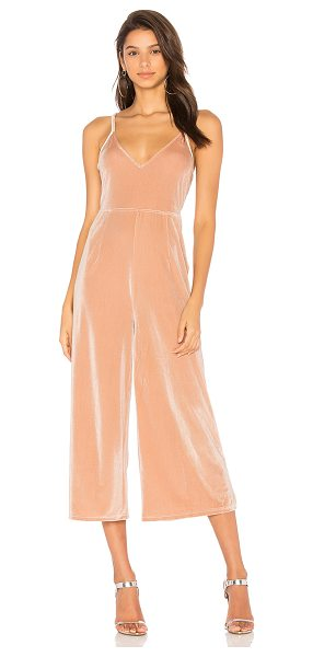 "Minkpink Velvet Jumpsuit in blush - ""92% poly 8% elastane. Hand wash cold. Adjustable..."