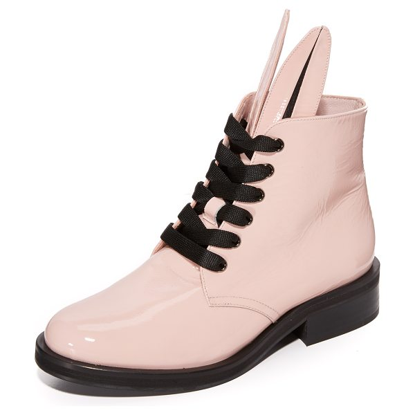 Minna Parikka bunny zip boots in powder - Glossy patent Minna Parikka boots styled with a playful...