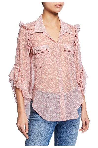 """MISA Aeryn Floral Chiffon Button-Front Ruffle Top in light pink - MISA Los Angeles """"Aeryn"""" top in sheer floral-print..."""