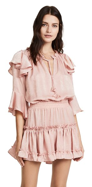 MISA aliz dress in mauve - Flouncy ruffles accent the shoulders of this shimmering...