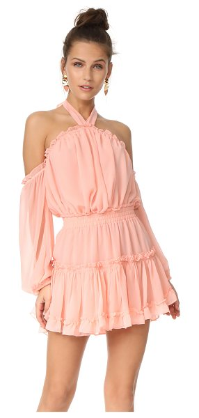 MISA indi dress in dusty pink - This airy, ruffled MISA dress is fashioned with breezy...