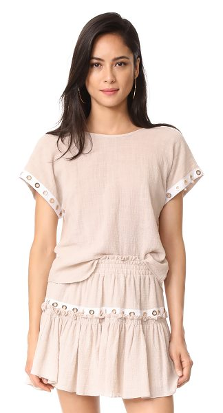 MISA kezia top in oatmeal - This lightweight, slubbed MISA top has a relaxed fit...