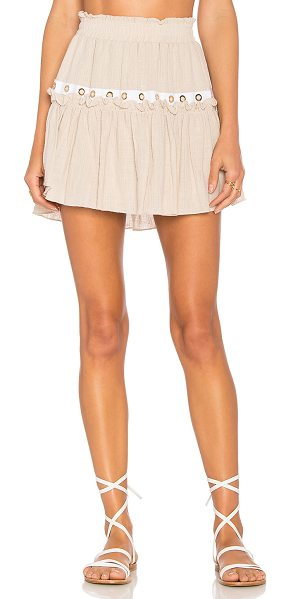 """MISA Alana Skirt in beige - """"Rayon blend. Hand wash cold. Fully lined. Elasticized..."""