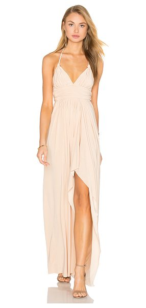 """MISA Ever Maxi Dress in cream - """"96% poly 4% spandex. Dry clean only. Unlined. Braided..."""