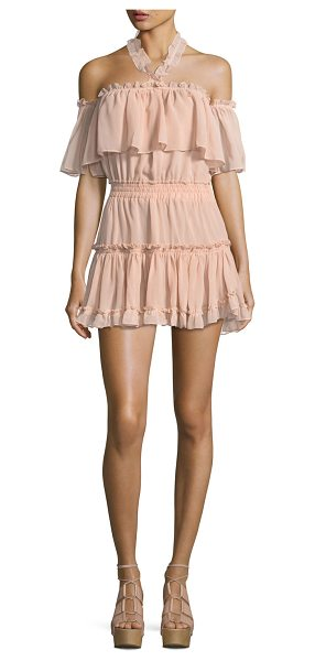MISA Melis Off-the-Shoulder Halter Ruffled Chiffon Dress in pink