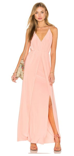 MISA Nola Double Slit Maxi Dress in pink - 96% poly 4% spandex. Partially lined. Elasticized waist....