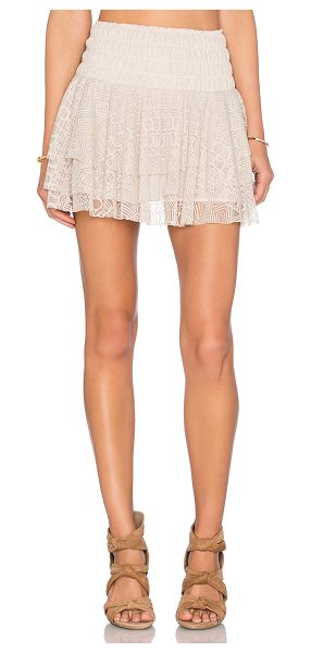 MISA Pilar Lace Ruffle Skirt in cream - Poly blend. Hand wash cold. Fully lined. Elasticized...