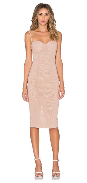 MISHA COLLECTION Adreanna dress in in tan - 89% poly 11% spandex. Dry clean only. Unlined. Back...