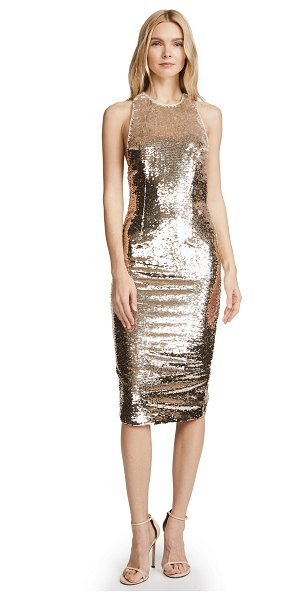 MISHA COLLECTION amya dress in light gold - Fabric: Sequined weave Back slit Body-con silhouette...