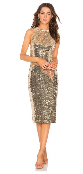 MISHA COLLECTION Amya Dress in metallic gold - Poly blend. Dry clean only. Fully lined. Allover sequin...