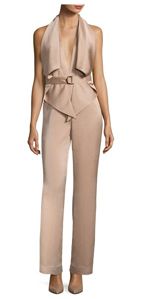 MISHA COLLECTION bailey sleeveless pantsuit in warm taupe - Refined silhouette updated with edgy trims on front....