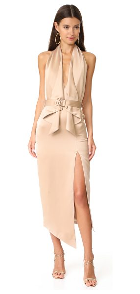 MISHA COLLECTION carrie dress in warm taupe - Cascading ruffles frame the plunging V neckline on this...