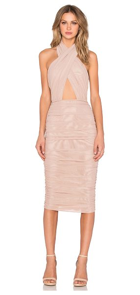MISHA COLLECTION Keziah Dress in tan - 89% poly 11% spandex. Dry clean only. Fully lined....