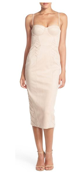 MISHA COLLECTION leia faux suede midi dress in blush - A saucy take on the classic cocktail dress, this chic...