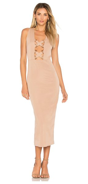 MISHA COLLECTION Monty Dress in taupe - Poly blend. Dry clean only. Fully lined. Front cut-out...