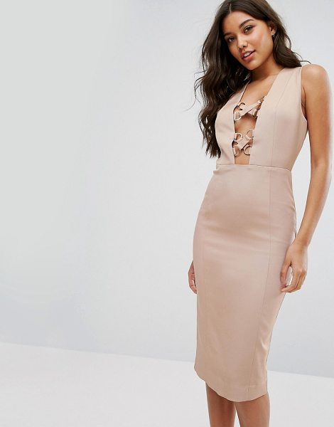 """MISHA COLLECTION collection pencil dress with lace up plunge in warmtaupe - """"""""Pencil dress by Misha, Woven fabric, Plunge neck,..."""