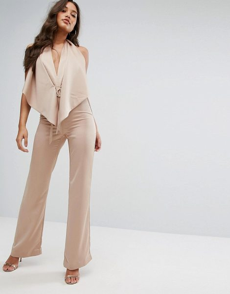 MISHA COLLECTION Collection Plunge Jumpsuit With Tie Waist in tan