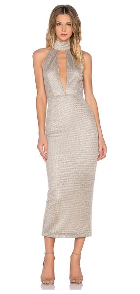 MISHA COLLECTION Volante Dress in metallic gold - 45% poly 38% rayon 11% metallic 6% nylon. Hand wash...