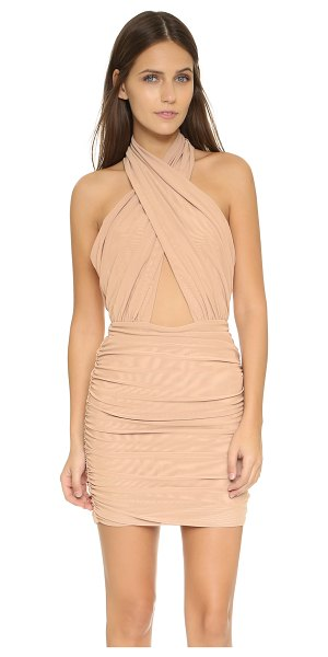 MISHA COLLECTION keziah dress in nude - This daring Misha dress features a crossover neckline...