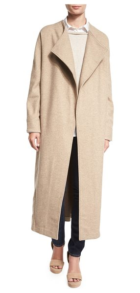 Misook Collection Long Drama Coat in almond/latte - Misook Collection wool coat. Oversized shawl collar;...