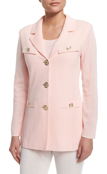 "Misook Dressed Up Button-Front Jacket in rosewater - Misook knit jacket with jeweled buttons. Approx. 28""L..."