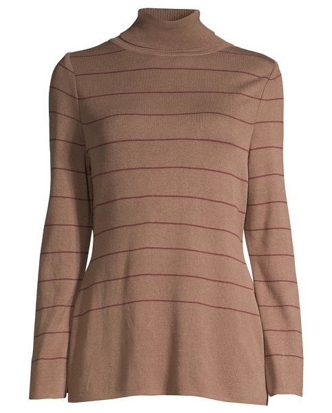 Misook stripe knit turtleneck in taupe mahogany