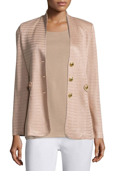 Misook Textured Gold-Button Jacket in sand - Misook textured jacket accented with silver buttons....